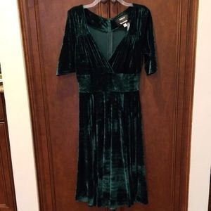 Green velvet Trixie Vixen dress midi tea length